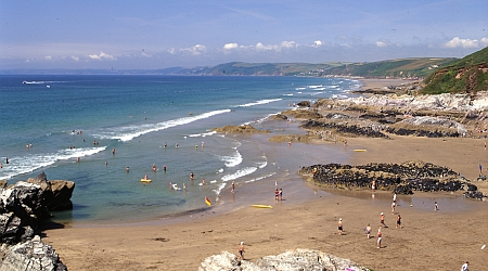The beach at Whitsand Bay - close to Liggars Farm campsite, St Keyne, Liskeard, Cornwall